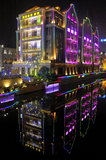 Wuhan at night. Wuhan in China at night royalty free stock image