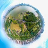 Aerial View above Moon Lake Park in spring, Wuhan, Hubei, China stock photos