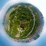 Aerial View above Moon Lake Park in spring, Wuhan, Hubei, China stock photo