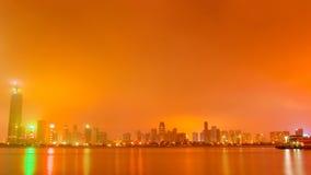 Wuhan på natten royaltyfri bild