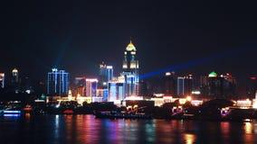 Wuhan på natten Arkivfoton