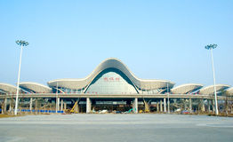 Wuhan railway station. Is the origin station of WuGuang High Speed Rail,which is the fastest railway at the present time.Taking in Wuhan,China.The high railway Royalty Free Stock Image