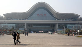 Wuhan railway station. Is the origin station of WuGuang High Speed Rail,which is the fastest railway at the present time.Taking in Wuhan,China.The high railway Stock Images