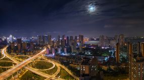 Wuhan 2rd Ring viaduct road panorama royalty free stock photography