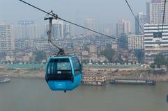 Wuhan stadsplats - kabelbil Arkivfoto