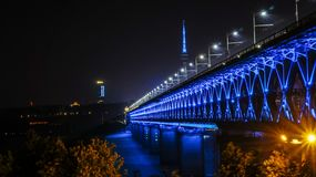 Wuhan Yangtze River Bridge in the evening royalty free stock image