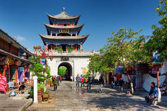 The Wuhua Tower is central landmark of Dali Old Town, China Royalty Free Stock Image