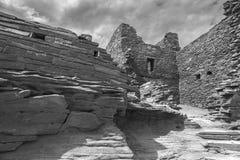 Wukoki Pueblo Ruin in Black and White Stock Images