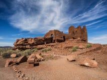 Wukokiruïnes complex in het nationale monument van Wupatki, Arizona Stock Foto's