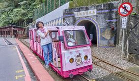 WULAI, TAIWAN - NOVEMBER 15, 2017: Mountain narrow-gauge railway Royalty Free Stock Photos