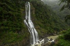Wulai Waterfall in Taiwan. Big Wulai Waterfall flowing into rocky river in Wulai, Taiwan stock photo