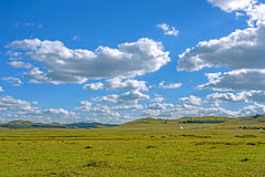 WulanBu all grassland ancient battlefield autumn scenery Royalty Free Stock Images
