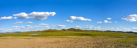 WulanBu all grassland ancient battlefield autumn scenery stock photo