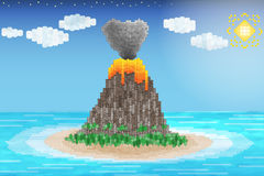 Wulkan erupcja w oceanie Obrazy Royalty Free