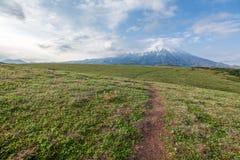 Wulkan Plosky Tolbachik na półwysepie Kamchatka zdjęcia royalty free
