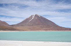Wulkanu i góry jezioro Fotografia Royalty Free