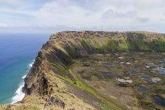 Wulkanu Rana Kau na Rapa Nui, Wielkanocna wyspa Zdjęcia Royalty Free