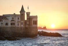 Wullf Castle - Castillo Wulff at sunset - Vina del Mar, Chile. Wullf Castle - Castillo Wulff at sunset in Vina del Mar, Chile royalty free stock image
