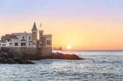 Wullf Castle - Castillo Wulff - at sunset - Vina del Mar, Chile. Wullf Castle - Castillo Wulff - at sunset in Vina del Mar, Chile stock photo