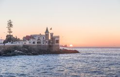 Wullf Castle - Castillo Wulff - at sunset - Vina del Mar, Chile. Wullf Castle - Castillo Wulff - at sunset in Vina del Mar, Chile royalty free stock photos