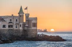 Wullf Castle - Castillo Wulff - at sunset - Vina del Mar, Chile. Wullf Castle - Castillo Wulff - at sunset in Vina del Mar, Chile stock image