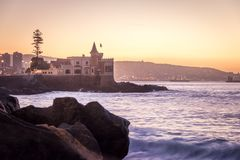 Wullf Castle - Castillo Wulff - at sunset - Vina del Mar, Chile. Wullf Castle - Castillo Wulff - at sunset in Vina del Mar, Chile royalty free stock images