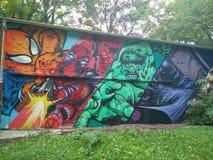 Wunder-Held-Graffiti Lizenzfreies Stockbild