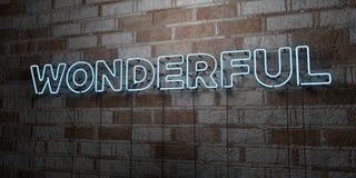 WUNDERBAR - Glühende Leuchtreklame auf Steinmetzarbeitwand - 3D übertrug freie Illustration der Abgabe auf Lager lizenzfreie abbildung