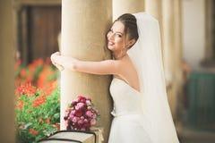 Wunderbare Braut mit einem luxuriösen weißen Kleid, das in der alten Stadt aufwirft lizenzfreie stockfotos