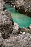 Wunderbare bunte große Schluchtschlucht von soca Fluss, triglav Nationalpark, Slowenien Stockfotografie