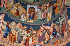 Wunderbare orthodoxe Ikonen Heilig-Anna--Rohiakloster, aufgestellt in einem natürlichen und lokalisierten Platz, in Maramures, Si Lizenzfreie Stockbilder