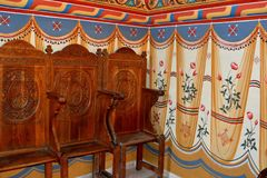 Wunderbare orthodoxe Ikonen Heilig-Anna--Rohiakloster, aufgestellt in einem natürlichen und lokalisierten Platz, in Maramures, Si Lizenzfreie Stockfotos