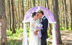 Wunderbare stilvolle reiche glückliche Braut und Bräutigam, die an einer Hochzeitszeremonie im grünen Garten nahe purpurrotem Bog Stockbild