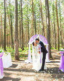 Wunderbare stilvolle reiche glückliche Braut und Bräutigam, die an einer Hochzeitszeremonie im grünen Garten nahe purpurrotem Bog Stockfoto