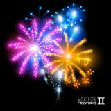 Wunderbare Vektor-Feuerwerke Stockfoto