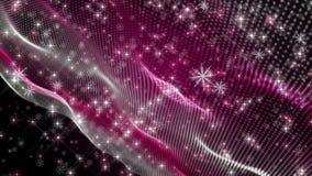 Wunderbare Weihnachtsanimation mit bewegenden Wellen und Schneeflocken plus Sterne, 4096x2304 Schleife 4K vektor abbildung