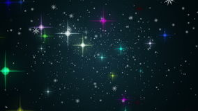 Wunderbare Weihnachtsanimation mit Sternen und Schneeflocken, Schleife HD 1080p stock video