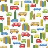 Wunderbarer bunter nahtloser Hintergrund mit Autos und Häusern lizenzfreie stockbilder