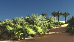 Wunderbarer Gesichtspunkt auf Sahara-Wüste an der Wiedergabe des Sonnenuntergangs 3d Lizenzfreie Stockfotos