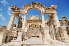 Wunderbarer Hadrian Temple In der alten Stadt von Ephesus, die Türkei Stockbild
