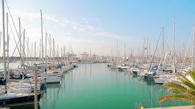 Wunderbarer Morgen des Yachtclubs im Wertigkeitshafen Die geparkten Yachten schaukeln auf Wellen Segelboote werden durch das Meer stock video