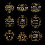 Wunderbarer Satz, Artjugendstil Elegante Linie Art Logo, Emdlem und Monogramm entwerfen, vector Schablone Lizenzfreies Stockfoto
