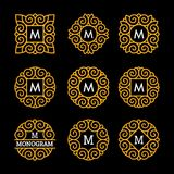 Wunderbarer Satz, Artjugendstil Elegante Linie Art Logo, Emdlem und Monogramm entwerfen, vector Schablone Lizenzfreie Stockfotografie