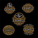 Wunderbarer Satz, Artjugendstil Elegante Linie Art Logo, Emdlem und Monogramm entwerfen, vector Schablone Stockfotografie