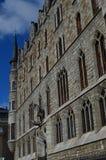 Wunderbarer Seitenschuß der Hauptfassade der Haus-Beuten Gaudi in Leon Architektur, Reise, Geschichte, Straßen-Fotografie lizenzfreie stockfotografie