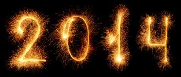 Wunderkerze. Neues Jahr 2014 Stockbild