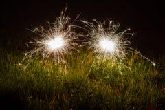 Wunderkerzen im Gras stockfotografie