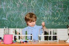 Wunderkind and early development. Small pupil learning chemistry in school. Chemistry laboratory. Practical knowledge stock image