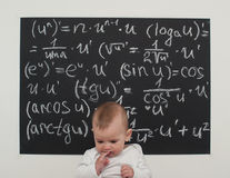 Wunderkind little boy on math Stock Image