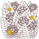 Wunderlicher Garten mit erwachsener Malbuchseite der Marienkäfer Auch im corel abgehobenen Betrag Stockbild